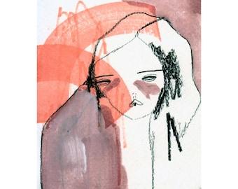 original painting on paper, original drawing -more despair