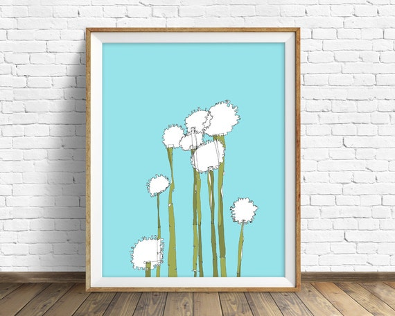 "art print, flower drawing, alyssum art, alyssum drawing, nature prints, wall art, wall art prints, pastel blue, large art - ""Globetrotters"""