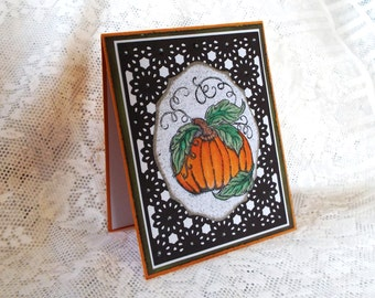 Pumpkin Card for Fall, Orange, Brown, Green