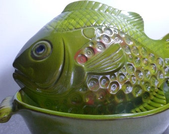 Fish Dish B Welsh signed Pacific Stoneware Covered Casserole 1970