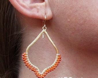 Beaded-Orange-Gold-Teardrop-Dangle-Earrings / Free US Shipping