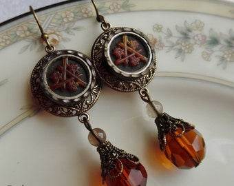 Cherry Blossom, Antique Button(c.1800's) Earrings