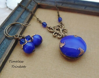 Vintage German Glass Button Necklace and Earring Set, Royal Blue