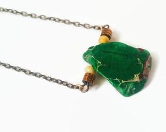 Tribal Cortex Necklace / Green Jasper Necklace / Natural Stone Necklace / Tribal Beaded Necklace / Hematite Necklace / Bone Necklace