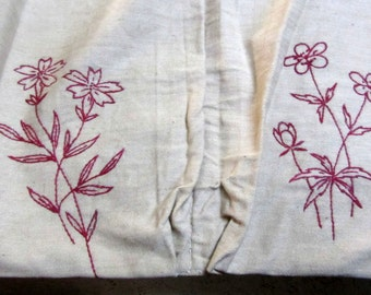 Vintage Handmade Red Floral Embroidered Shoe Bag w/Grommets on Beige Linen Mint Condition