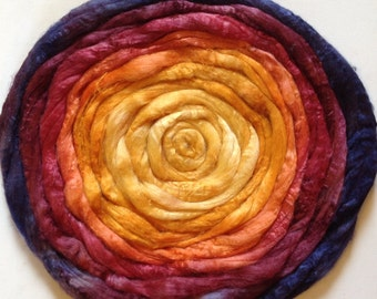 Hand Dyed Tussah silk roving 2ozs