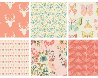 BUNDLE - Hello Bear - Forest Floor - Art Gallery Fabric - Bonnie Christine - Modern Quilting Fabric - Pink - Deer Antlers Arrows Butterflies
