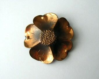 Flower Pin Copper Brooch Vintage Stuart Nye Dogwood Brooch Floral Jewelry