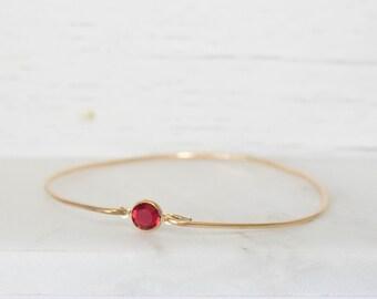 January/July Birthstone Swarovski Garnet Gold Bangle Bracelet, Ruby Gold Bangle, Gold Bracelet, Garnet Bangle, Birthstone Bracelet, #773