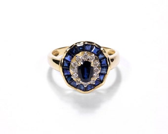 Antique Art Deco Ring DIAMOND and SAPPHIRE Oval Engagement Ring, Wedding Ring, 14K, 0.25 Ctw, 1.50 Sapphires - Jewelry by edmdesigns