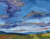 Art ACEO Landscape Oil Painting Original Blue Sky Cloud Appalachian Impressionist Trading Card 2.5 x 3.5 Quebec Canada By Founier no 2015-20