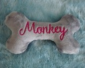 """Dog Bone - Embroidered Bone - Double Squeaker Dog Toys - Personalized with Name and Birthdate or Gotcha Date  - 6"""""""