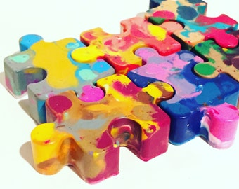 Stocking Stuffer Puzzle Piece Crayons - Puzzle Piece Rainbow Crayons Set - Stocking Stuffer Set