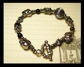 """Black and Silver color Halloween Skull bracelet 7.5"""""""