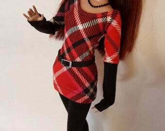 "HOLIDAY PLAID set for Agatha Primrose 13"" Tonner fashion body"