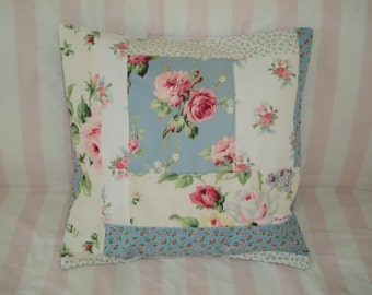 "Love Vanilla Rose - Shabby Quilted Pillow Cover - 16"" x 16"""