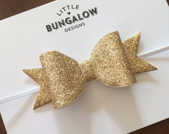 Gold Glitter Bow Headband // Hair Clip // Gold Bow // Glitter Bow // Photo Prop // Baby Headband // Mini Bow // Wedding // Elastic Headband