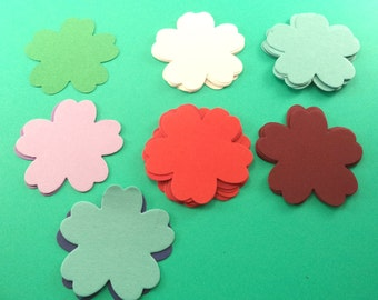 5 Petal Paper Flowers, Scrapbook Embellishments, Card Making Supply, 2 Inch Die Cut Flowers, Decoration Supplies, Tag Supply