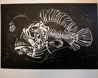 The Lure of Love- original woodcut print