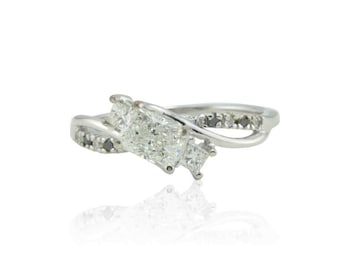 Engagement Ring, Radiant Cut Black and White Diamond Ring - 14kt White Gold Three Stone Diamond Engagement Ring - LS3456