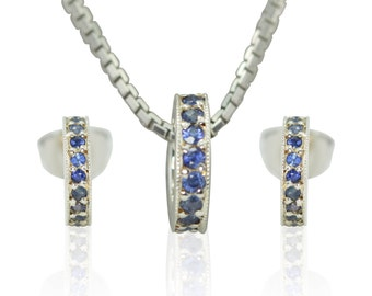 Blue Sapphire Earrings and Pendant in 18k White Gold - September Birthstone Jewelry Set for Mom - LS3065