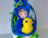 Easter Decoration Bunny Girl in an Easter Basket Easter Ornament