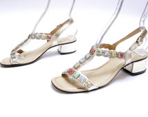 Vintage silver leather sandals // strappy block heel sandals// Mod Heeled Sandals with Jewels// 7M
