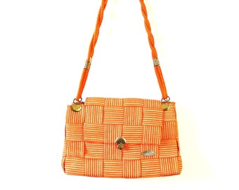 1970s Gabriella Woven Shoulder Bag // Medium Size Purse // Made in Italy