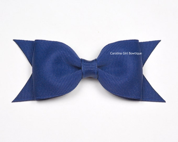 "Light Navy Blue Tuxedo Bow ~ 3.5"" Hairbow ~ Small Hair Bow ~ Girls Barrette ~ Toddler Bow ~ Baby Hair Bow ~ Hair Clip ~ Girls Hair Bow"