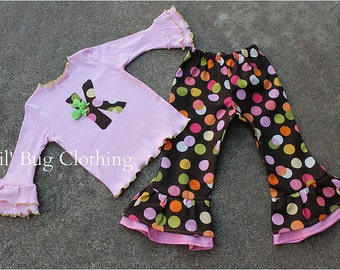 Birthday Girl Polka Dot Outfit, Birthday Girl Personalized Outfit, Toddler Girl Clothes, Girl Ruffled Pants, Girl Fall Outfit
