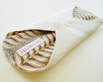 """9"""" Heavy Minky Cloth Menstrual Pad, White Grey Orange Abstract Vines Waves, Incontinence Pad, Minkee Pad, Stain Resistant, Cloth Sanpro CSP"""
