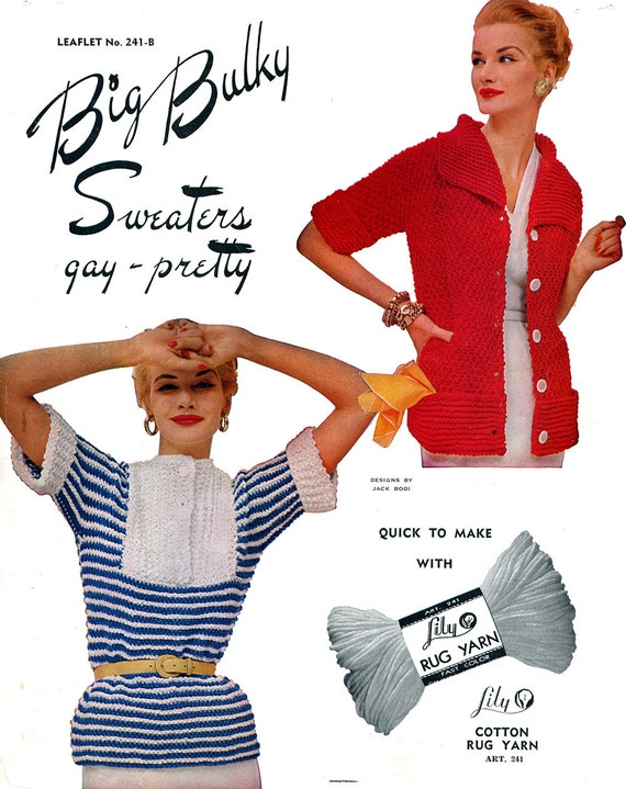 1950s Style Sweaters, Crop Cardigans, Twin Sets 1950s Big Bulky Sweaters- PDF Knitting E-Pattern Download $2.99 AT vintagedancer.com