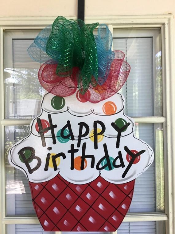 Items similar to birthday door hanger front door decor for M m door decorations