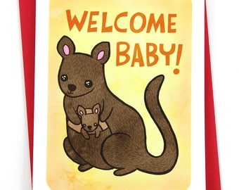 Congratulations - Welcome Baby Kangaroo -NOTECARD