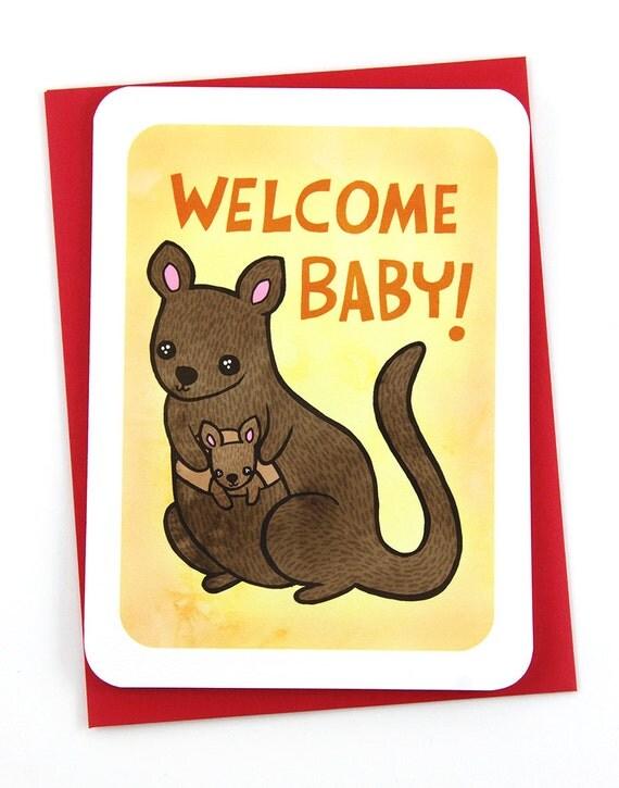 Congratulations - Welcome Baby Kangaroo -NOTECARD