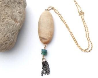Long Gold Tassel Necklace, Agate Pendant, Gemstone Pendant Necklace