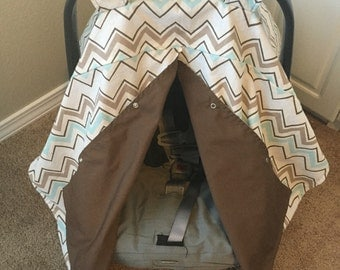 Made-to-order Reversible Carseat Canopy in your choice of color, print, and fabric! Fully customizeable listing!