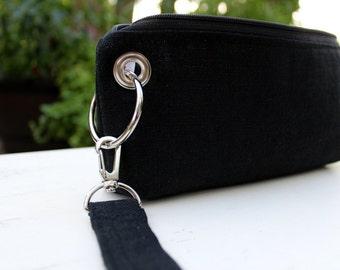 Zipper Pouch Clutch Wallet - Long Wallet - Cell Phone - Passport - Errand Runner - Evening Bag - Fabric Wallet - Wristlet - Black Lady Bug