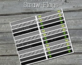 St Patricks Day Donut Pinch Me Shamrock Printable Straw Flags - INSTANT DOWNLOAD