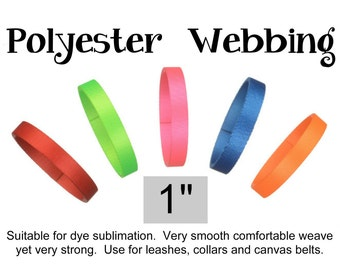 """6 Yards - 1"""" - POLYESTER Webbing, HEAVY Weight, Strap - Your Choice of Color - thickness .08"""""""