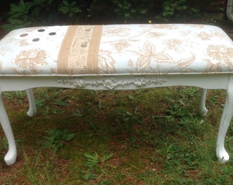 Shabby French Bench Newly Upholstered Light Robin Egg Blue
