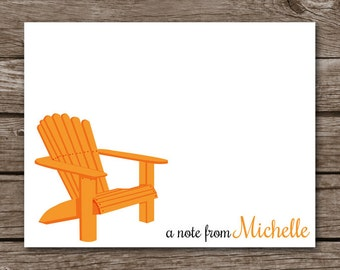 PRINTABLE Beach Note Cards, Beach Notecards, Beach Chair Cards, Summer Note Cards, Beach Stationery, Personalized Note Cards