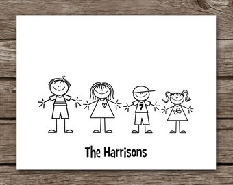 PRINTABLE Stick Family Note Cards, Stick Family Cards, Family Note Cards, Family Cards, Personalized Note Cards