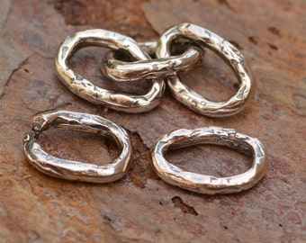 Oval Links for Making Chain in Sterling Silver, L-451, 3 Open and 3 Closed Links