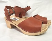 New Open Toe Rust oiled Dalanna Medium Heel with buckled ankle strap