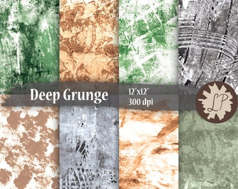 Grungy Painted Papers - green, brown, gray printable paper for scrapbooking, instant download mixed media art journaling 12X12 backgrounds