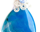 S/O  samanthaolmeda177 -Blue Agate Triangle Sterling Silver Wire Wrapped Handmade Pendant