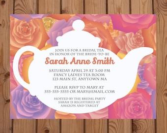Bridal Shower Tea Party Invitation - Roses Tea Party Invitation - Bridal Shower Invitation - Digital Invitation - Printable Invitation