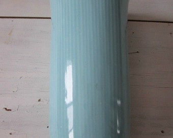 Retro blue vase cottage shabby chic vintage glass flower vase