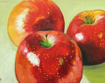 Apples 17 painting 18x24 inch original still life oil painting by Roz